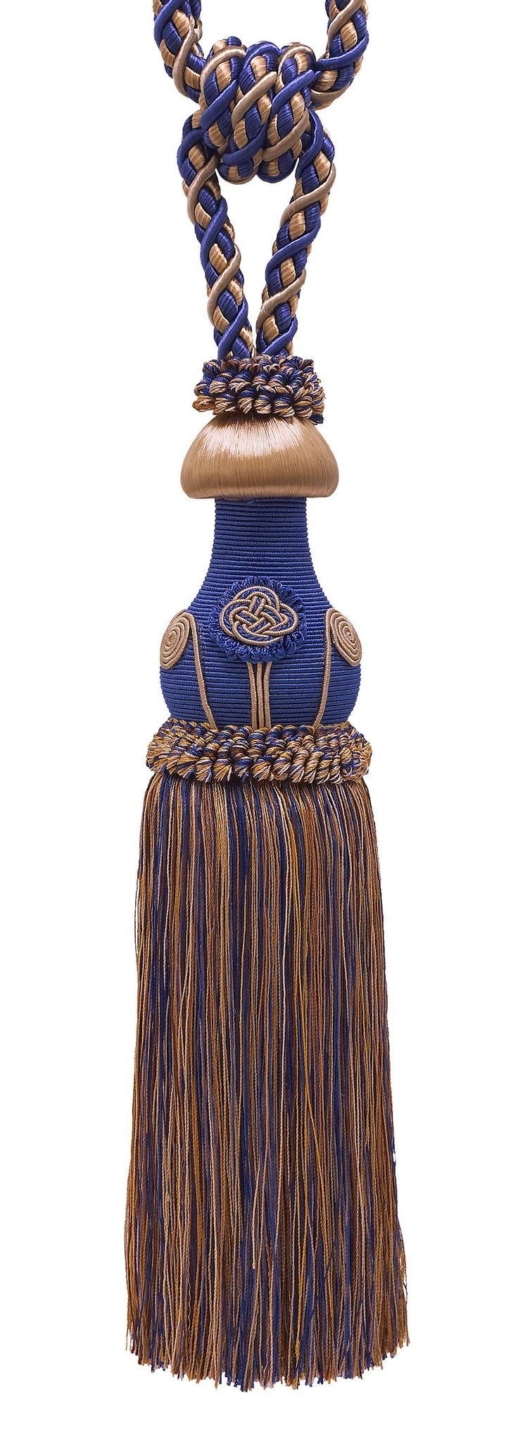 "Decorative Ultramarine Blue, Tan Curtain & Drapery Tassel Tieback /12"" tassel, 32"" Spread (embrace), 7/16"" Cord, Baroque Collection Style# TBBL-1 Color: NAVY TAUPE 5817"