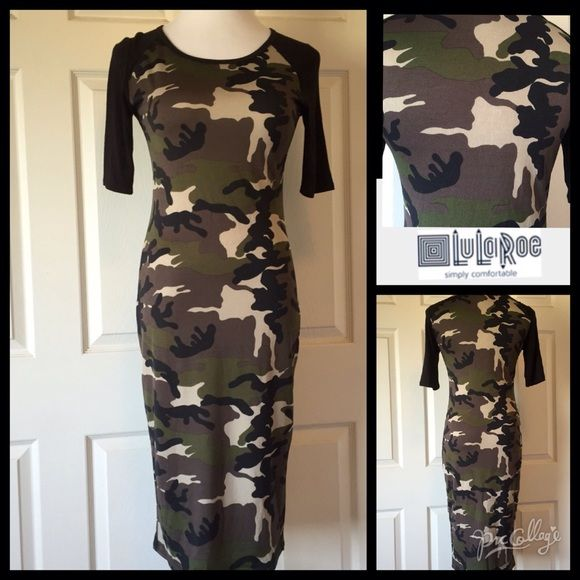 "LuLaRoe Julia Camo Dress The amazing figure flattering Julia dress by LuLaRoe. Comfort, with a print that hits just the right spots. In like new condition. Size XS. Our mannequin is a 4-6 for reference. 34"" bust 40"" length and 10"" sleeves. 94% spun polyester 6% spandex. Machine wash then hang to dry. No trades or PayPal. We are thank you stopped by @treasuresbytrac for a visit!  LuLaRoe Dresses"