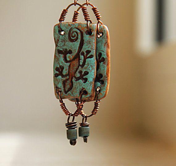 blue lizard rustic earthy copper dangles tribal natural gecko earrings. €17.00, via Etsy.