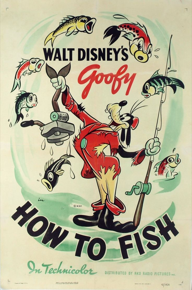 old fishing posters | ... Fish , original Walt Disney Productions one sheet poster, 27″x41