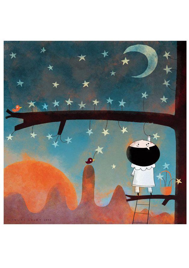 Dans l'arbre aux étoiles Pierrot est monté pour cueillir des fruits... jolie carte par La Parenthèse Enchantée sur DaWanda.com <3