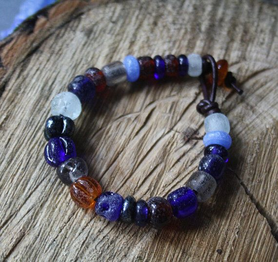 Glass Beaded Bracelet  Matte Blue  Archeological by LikeAGlassShop