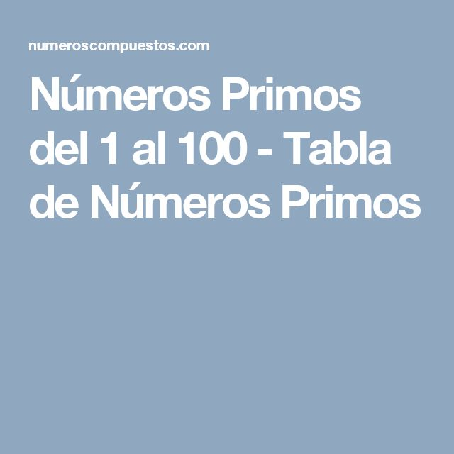 Números Primos del 1 al 100 - Tabla de Números Primos