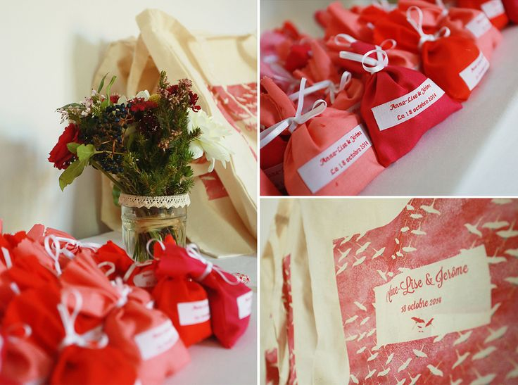 Sachets de dragées en tissu décliné en dégradé rose/rouge