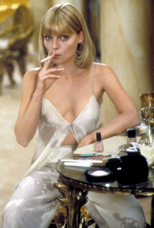 Michelle Pfeiffer, playing the ambitious, drug-addicted Elvira Hancock in the 1983.