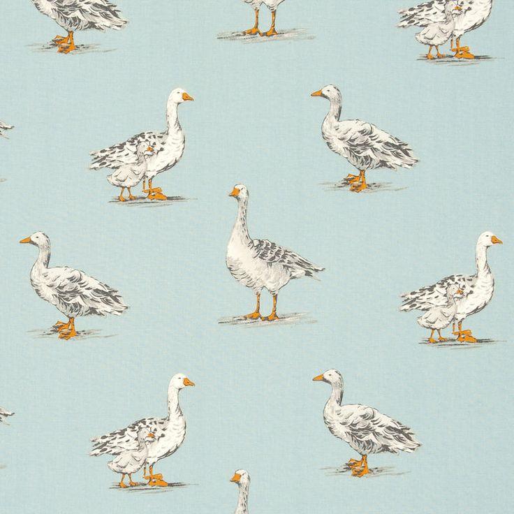 Clarke Studio G Geese Curtain Fabric Duckegg