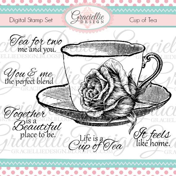 Cup of Tea  Digital Stamp Set by GraciellieDesign on Etsy