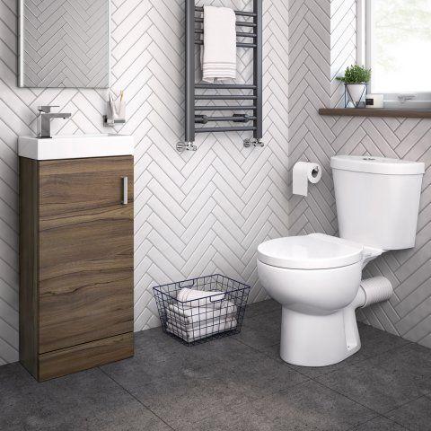 Crosby Toilet & 400mm Slimline Basin Cabinet Cloakroom Set - Walnut Effect