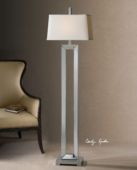 Uttermost coffield metal column floor lamp thick metal finished in plated polished chrome the
