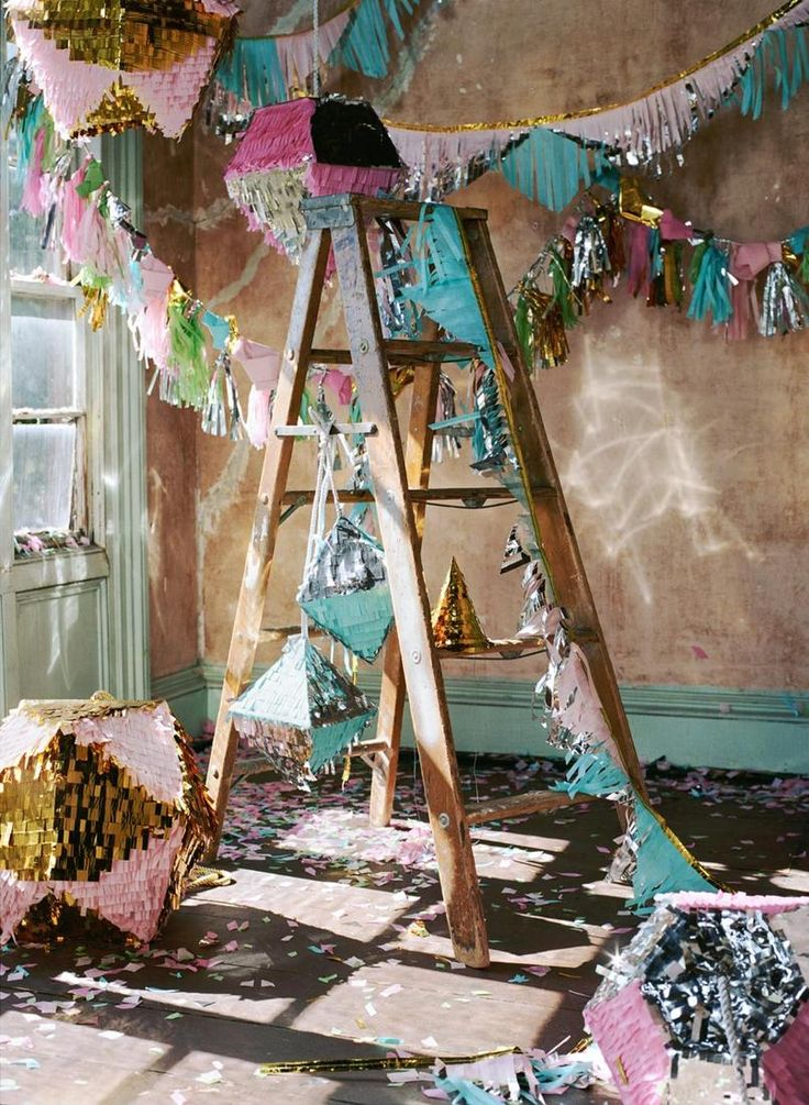 "pinatas and streamers for urban outfitters ""party party"" catalog shoot by confettisystem"