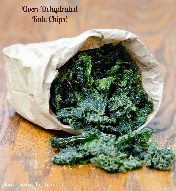 Oven-Dehydrated Kale Chips! No scorched taste, crispy and yummy. Also oil-free for those needing a plant-strong version. Enjoy!