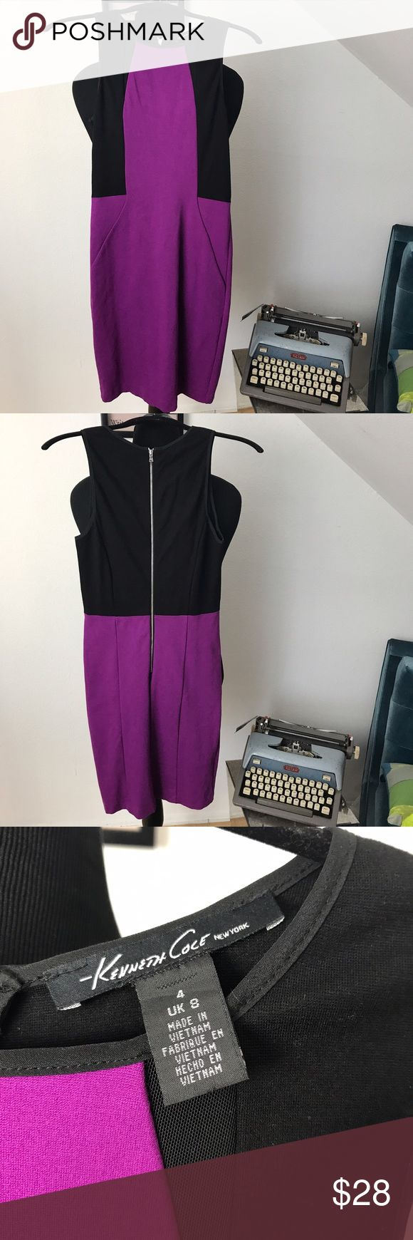 Kenneth Cole Purple Body Con Dress The color of this dress is gorgeousssss! Purple/black body con by Kenneth Cole, maybe worn once in perfect condition. Kenneth Cole Dresses