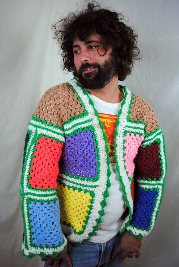 Granny square jacket for a man. Look how happy he is.