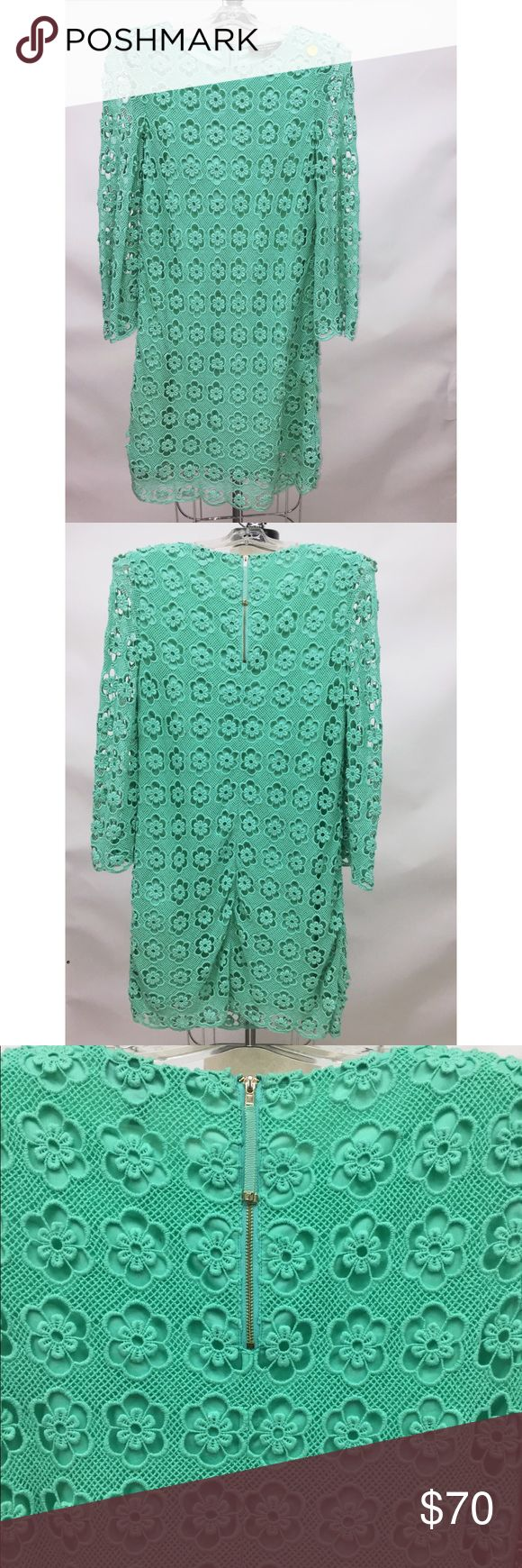 Lace dress by Juicy Couture Turquoise lace dress with zipper at back. Drsss is very simple and elegant.  Can be worn to work, dinner party, church etc Juicy Couture Dresses Midi