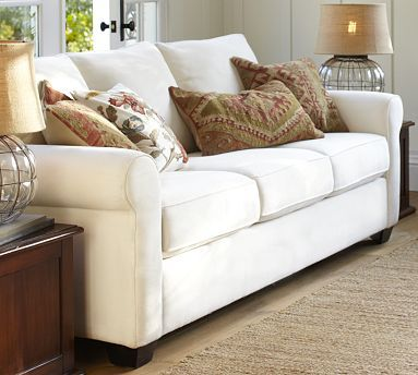 Buchanan Upholstered Sofa #potterybarn to go with sectional in family room