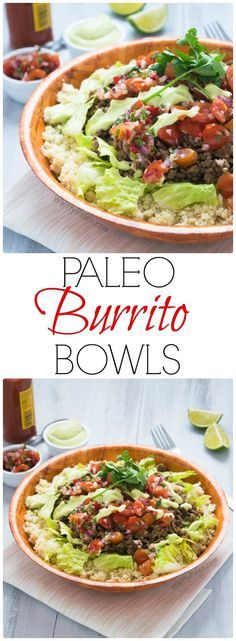Paleo, Gluten Free & Dairy Free Easy Mexican Burrito Bowls from http://WhittyPaleo.com
