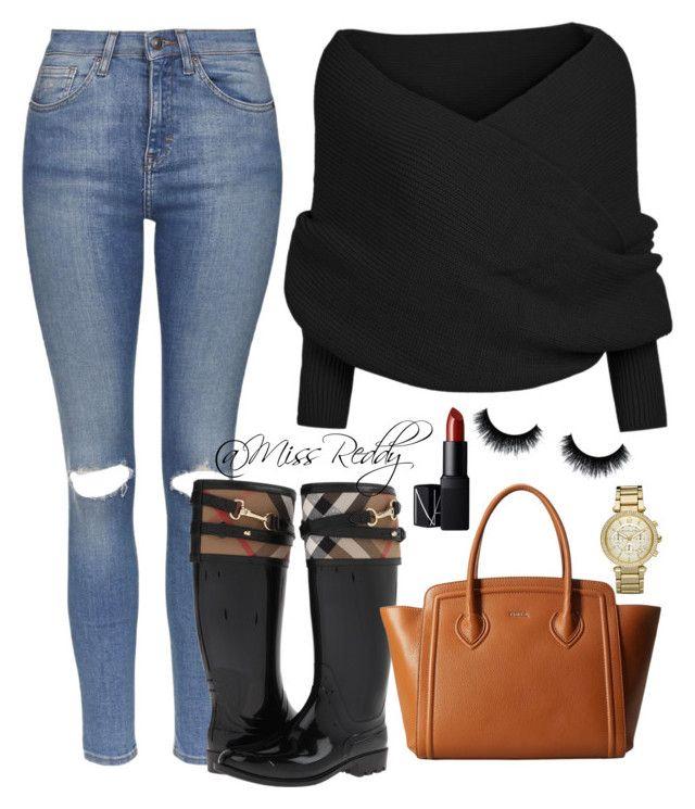 Untitled #34 by missreddy on Polyvore featuring polyvore, fashion, style, Topshop, Burberry, Furla, Michael Kors and NARS Cosmetics