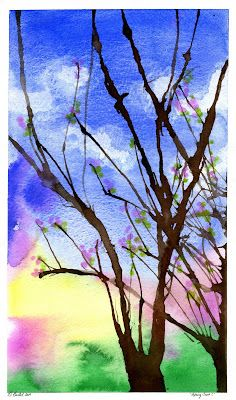 How to Paint Spring Trees; the trees are made by spreading the paint by blowing through a straw. Fun and easy!
