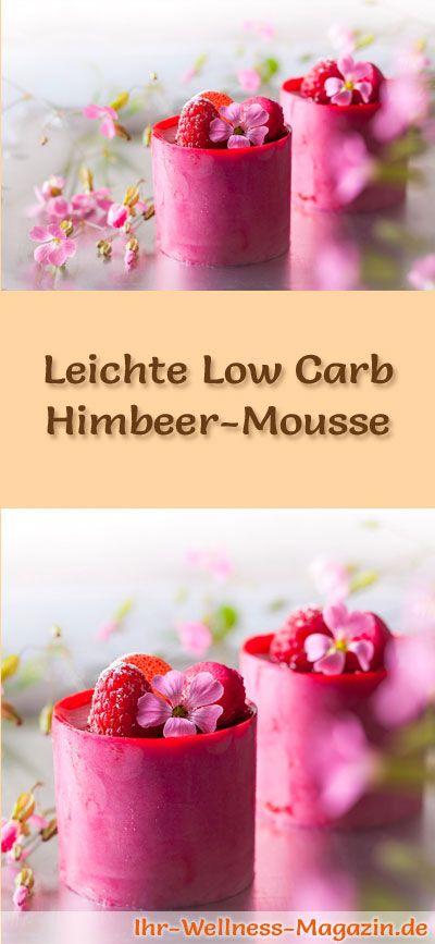 Rezept für eine leichte Low Carb Himbeer-Mousse - ein einfaches Dessert-Rezept für eine kalorienreduzierte, kohlenhydratarme Süßspeise ohne Zusatz von Zucker ...