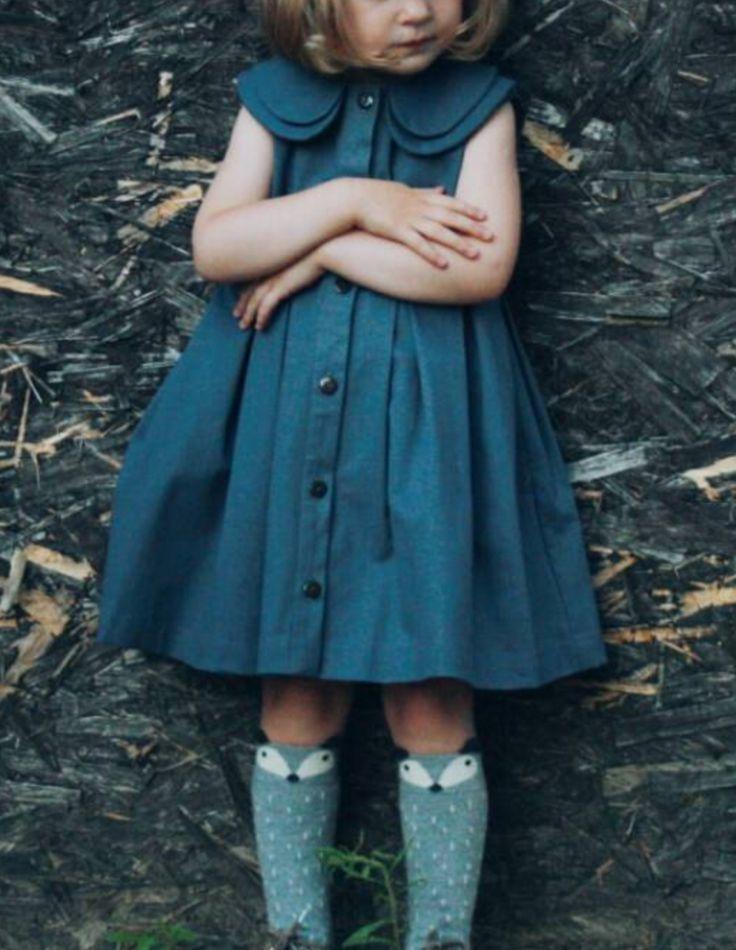 Sweetest denim dress with fox socks!! Need this!