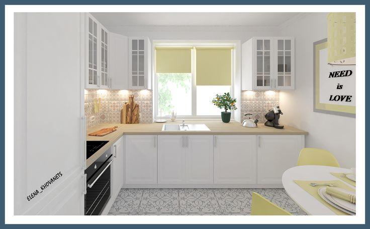 Дизайн проект кухни в светлых тонах. Для создания летнего и свежего образа основным цветом был выбран белый, с акцентами, выкрашенными в нежный светло-желтый оттенок. Этот солнечный цвет хорошо дополняет основной, создавая ощущение уюта, как будто в гости заглянуло солнышко. #интерьердизайна #интерьер #дизайн #3dmax #vray #interiordesign #interior #design #дизайнинтерьера #дизайнквартиры #дизайнпроект #кухня # kitchen #home #keramamarazzi