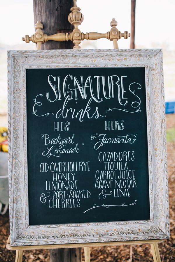 Chalkboard and Calligraphy Bar Menu for Signature Wedding Drinks   Lisa Mallory Photography   See More! http://heyweddinglady.com/autumn-har...