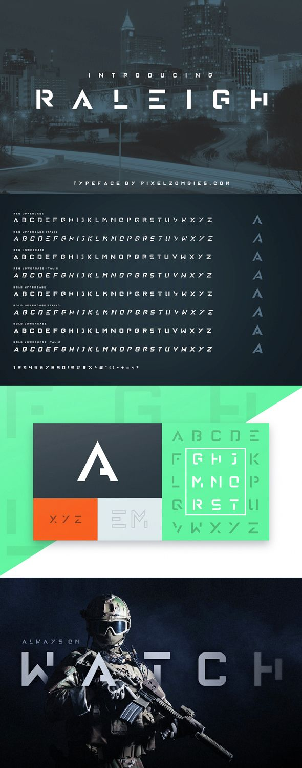 A font for your inner-epicness. A futuristic yet modern stencil-esque font that's great for big titles and small subtexts. Combine with images to really wow them humans.