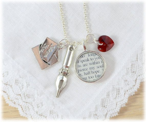 Jane Austen Persuasion, Captain Wentworth Letter Charm Necklace, Literary Gift for Book Lovers, Jane Austen Jewelry
