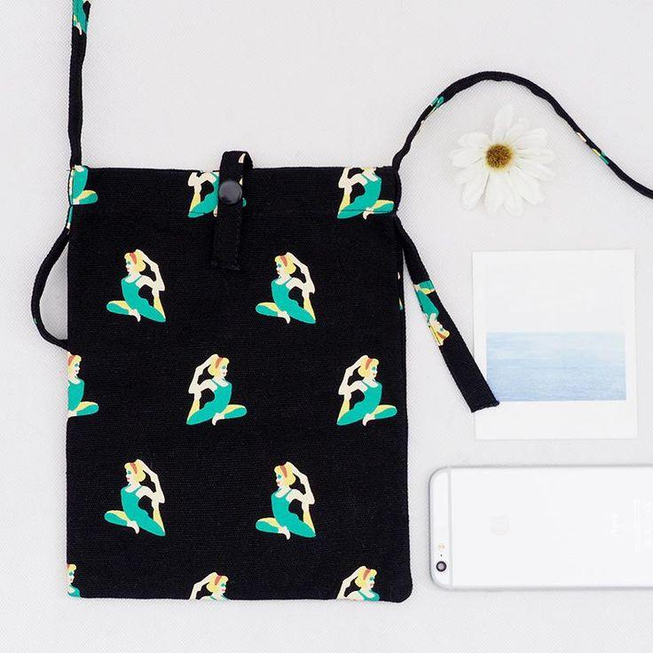 Mini Crossbody Yoga Lady Mini Canvas Tote with Shoulder Strap in Black – The Bullish Store #getbullish #yoga #bag #crossbody