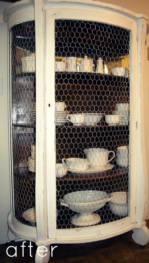 Repurposing an Old China Hutch with  Chicken Wire & Paint. maybe not this piece but I like the concept and I always love chicken wire