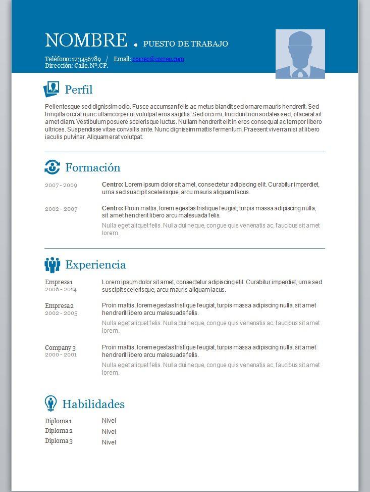 Modelos de curriculum vitae en word para completar | moh | Pinterest ...