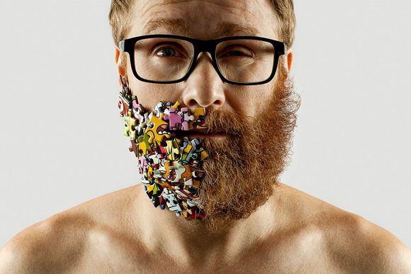 A photographer has decided to take on two of the most popular styles in today's society: beards and selfies. After shaving half of his beard, Adriano Alarcon has decided to replace it with other objects or candy and to capture it all on camera. More photos on Camyx! #selfie #beard #hipster #portrait #fun #photography
