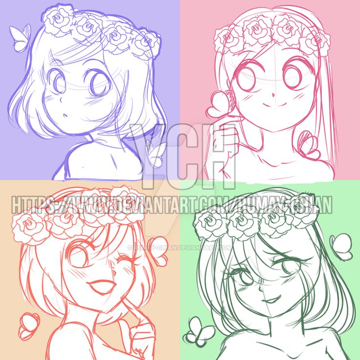 (YCH Auction Headshots) Cute Flower Girls -CLOSED By Rumay