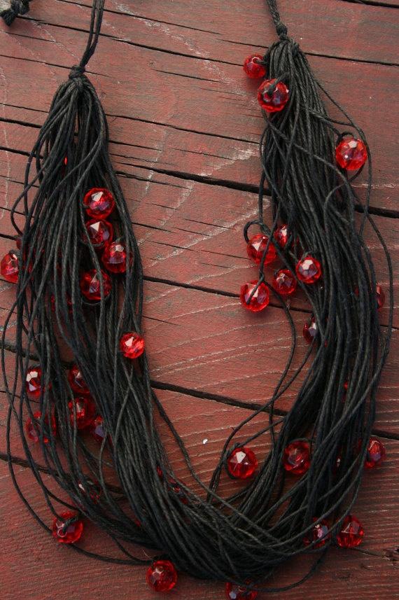 Linen necklace  black necklace Beaded Hemp by HappyHippyShop, $25.00