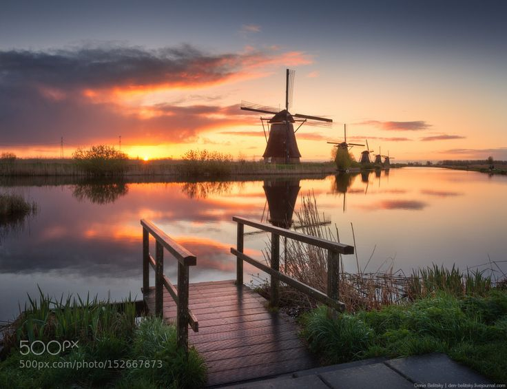Windmills in Kinderdijk (Netherlands) by Denis111. Please Like http://fb.me/go4photos and Follow @go4fotos Thank You. :-)
