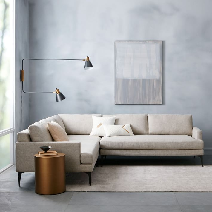 with its modern form extradeep seat and crisp tailoring our spacious andes sectional has serious presence it fits up to eight but feels airy and light