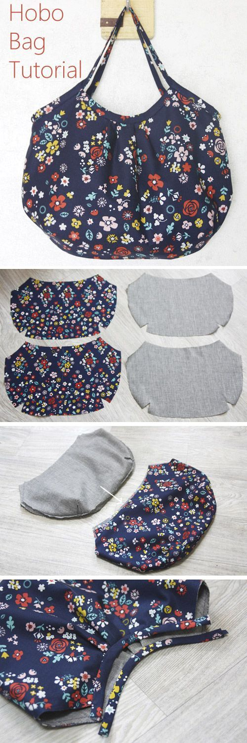 Tutorial ✂ Reversible Hobo Tote Bag. How to sew DIY Picture Tutorial. http://www.handmadiya.com/2015/11/hobo-bag-tutorial.html