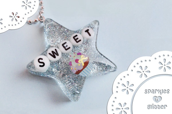 Glittery Sweet Cupcake Pendant  Made with Resin and Glitter