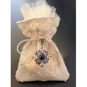 Bomboniera in arte sarda, uno spettacolo Sacchetto  filigrana,lapislazzulo e perle