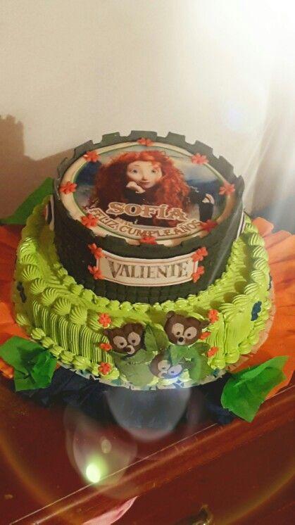 Merida torta de la pricesa mas Valiente. Merida a Brave princess cake . Fondant y nevado suizo
