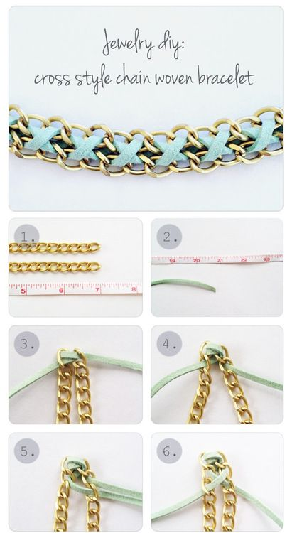 DIY Woven Leather and Chain Bracelet Tutorial from Yes... - True Blue Me & You: DIYs for Creative People