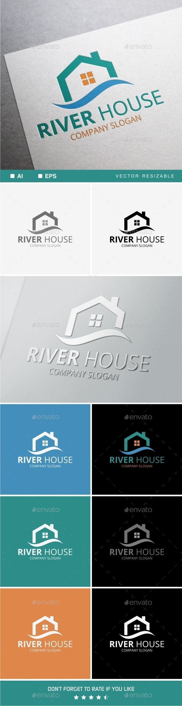River House Logo by soponyono Easy to edit to your own company name with vector for highly resizable and printing. Suitable for industry like Real Estate and Co