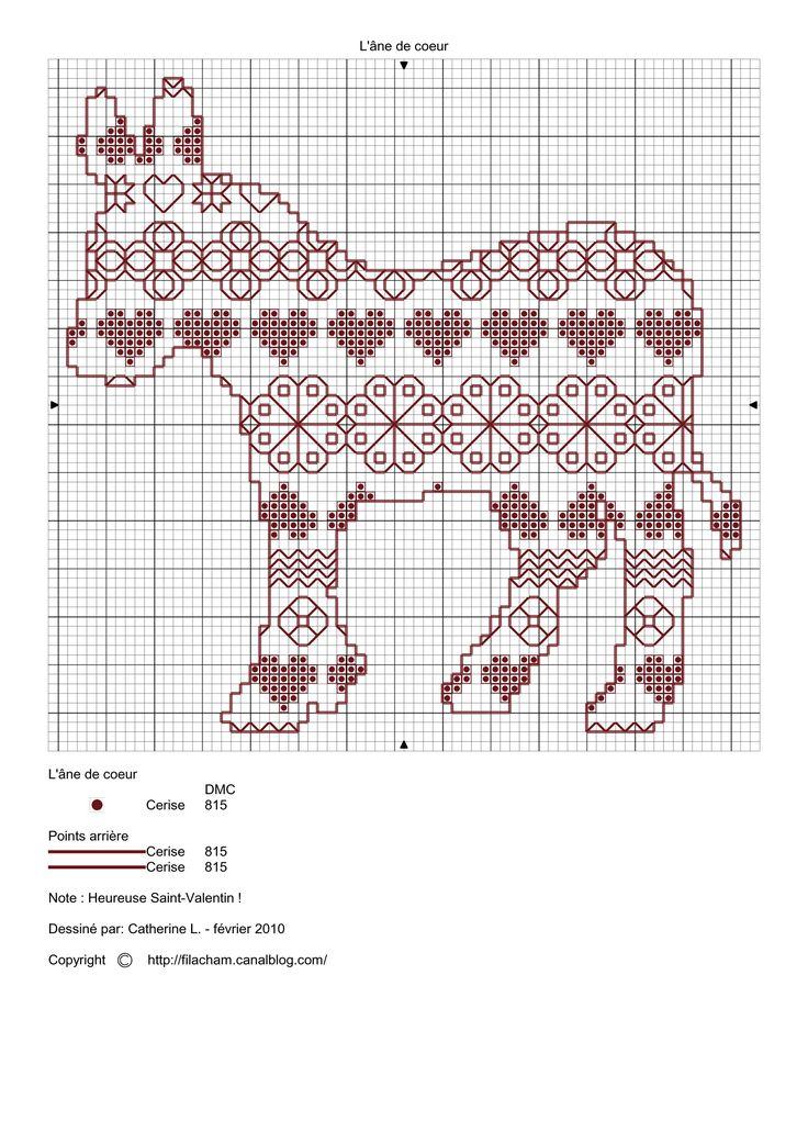 Cross-stitch Valentine Donkey, part 4...