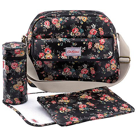 Buy Cath Kidston Floral Zip Changing Bag, Charcoal Online at johnlewis.com