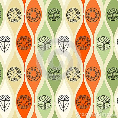 Abstract seamless pattern. Modern style motif. Linear floral geometric elements on light yellow background