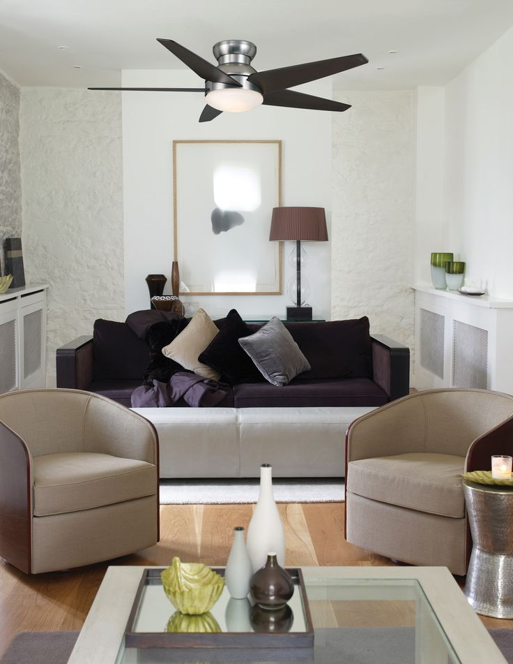 Brushed Nickel Isotope Ceiling Fan That Has A Contemporary Style And Is Meant For An Indoor Large Room
