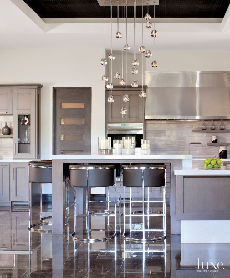 Contemporary White Kitchen With Crystal Droplet Chandelier   Luxe Interiors  + Design