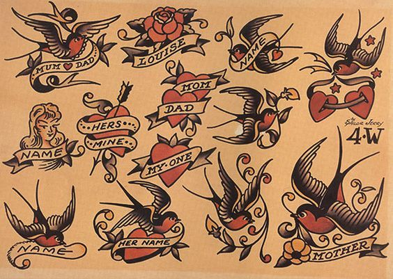 Sailor Jerry Heart Outline heart tattoo designs with banners and ...