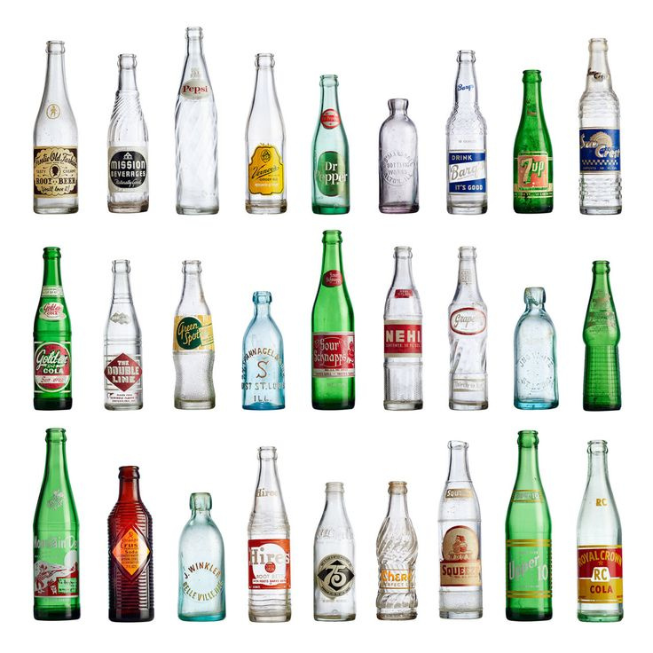 Soda bottles have evolved throughout the years. Although they're all a bit different they look awesome when grouped together on a shelf!