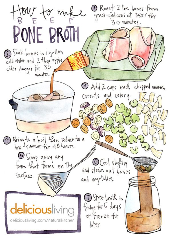 Homemade broth can improve digestion, boost immunity and improve nail and hair growth. Here's how to make it. (Illustration: Katie Eberts)